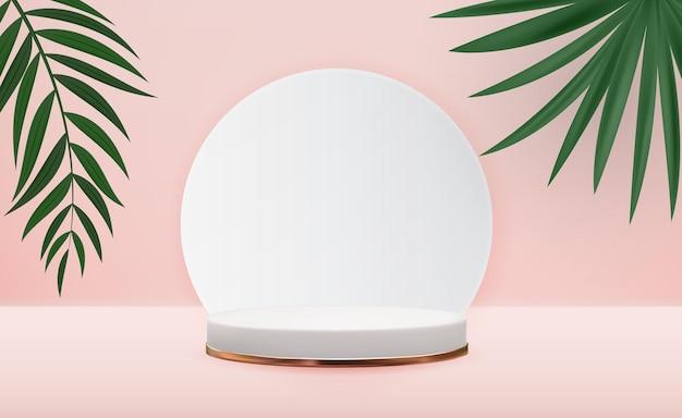 Realistyczne 3d białe cokoły z palmami.