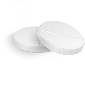 Realistyczne 3d białe pigułki medyczne zbliżenie