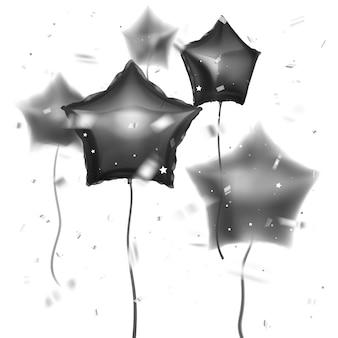Realistyczne 3d błyszczące balony czarnego koloru i kształtu gwiazd z efektem rozmycia