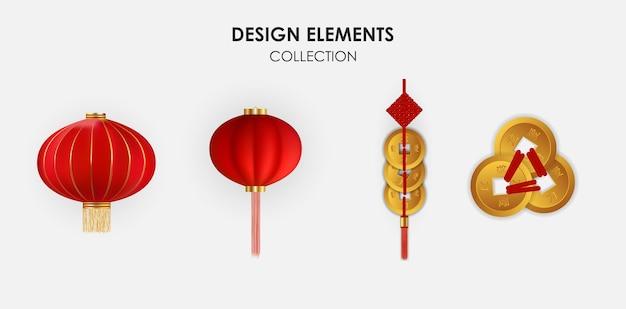 Realistyczne 3d chińskie elementy projektu wakacje wiszące latarnie i zestaw kolekcji złotych monet.