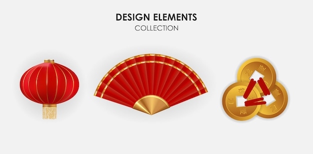 Realistyczne 3d chińskie elementy. wiszące lampiony, wachlarz i kolekcja złotych monet.