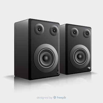 Realistyczne 3d czarny głośnik tło