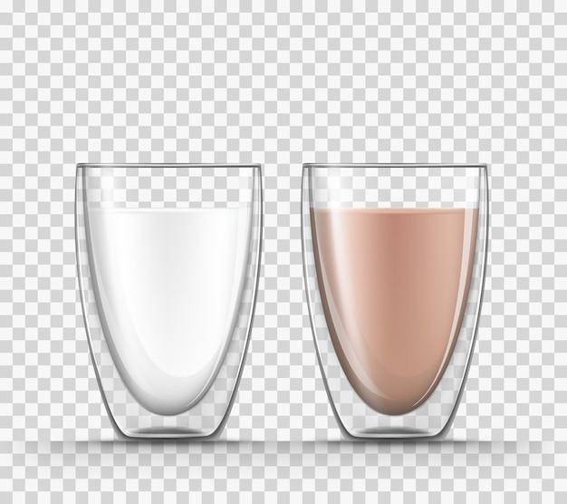 Realistyczne 3d ilustracja mleka i kakao w szklanych kubkach z podwójnymi ścianami na białym tle.