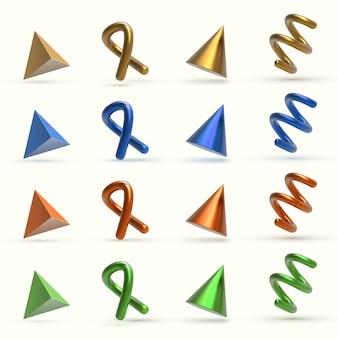 Realistyczne 3d kolorowe metalowe obiekty geometryczne kształty.