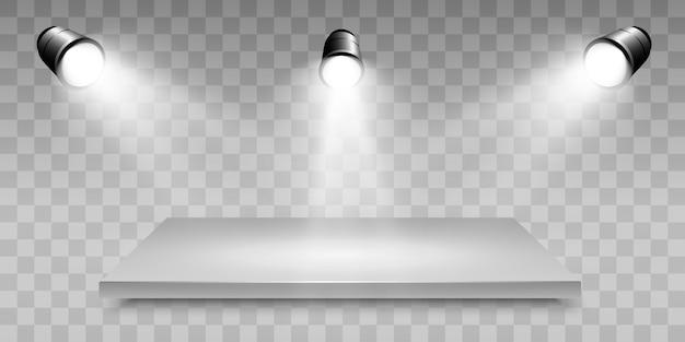 Realistyczne 3d light box z tłem platformy do projektowania, pokazu, wystawy. wnętrze studia lightbox. podium z reflektorami.