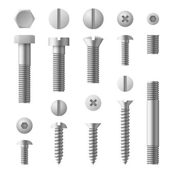 Realistyczne 3d metalowe śruby, nakrętki, nity i śruby na białym tle zestaw
