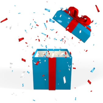 Realistyczne 3d otwarte pudełko z czerwoną kokardą. papierowe pudełko z wstążką, cieniem i konfetti na białym tle. ilustracja wektorowa.