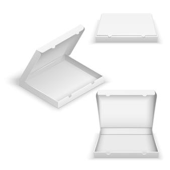 Realistyczne 3d puste pudełka po pizzy na białym tle