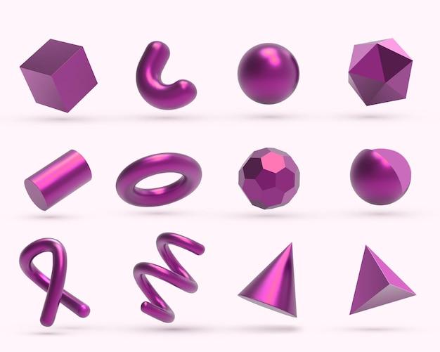 Realistyczne 3d różowe metalowe obiekty geometryczne kształty.