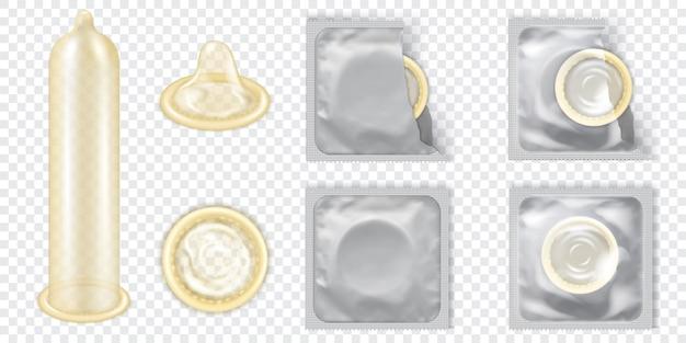 Realistyczne 3d szczegółowe lateksowe prezerwatywy wektor zestaw.