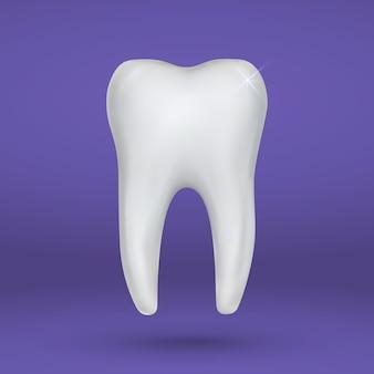 Realistyczne 3d ząb na białym tle ikona stomatologii
