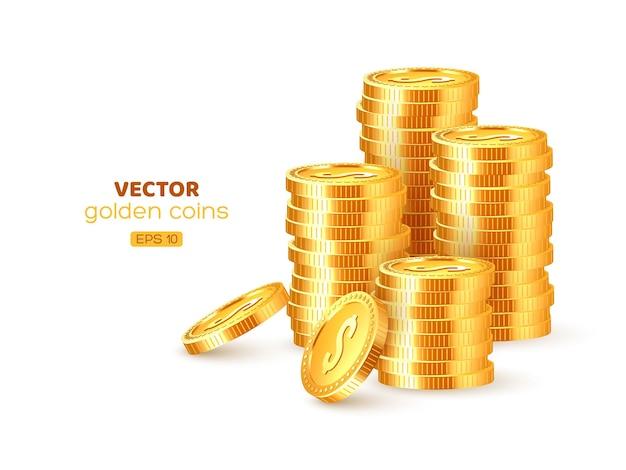Realistyczne 3d złote stosy monet. złote pieniądze ze znakiem dolara na białym tle