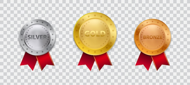 Realistyczne 3d złoty medal mistrza z czerwoną wstążką ilustracji