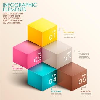 Realistyczne Abstrakcyjne Elementy Infografiki 3d Schody Premium Wektorów