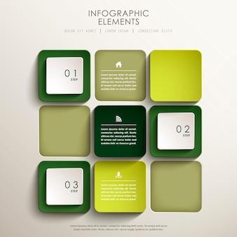 Realistyczne abstrakcyjne elementy infografiki 3d tag