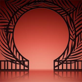 Realistyczne abstrakcyjne tło z egzotycznymi bramami na pomarańczowej ścianie
