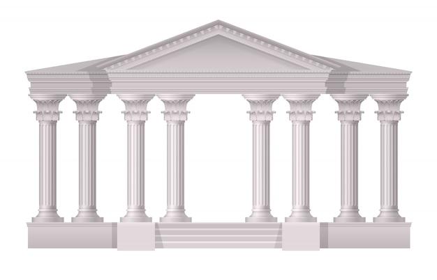 Realistyczne antyczne białe kolumny realistyczny skład na białym tle