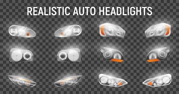 Realistyczne auto przednie reflektory ustawione na przezroczystym tle ze świecącymi obrazami pełnych reflektorów do samochodów