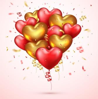 Realistyczne balony czerwone i złote serce z konfetti