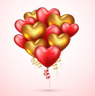 Realistyczne balony czerwone i złote serce
