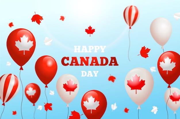 Realistyczne balony dzień kanada tło