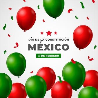 Realistyczne balony dzień konstytucji meksyku