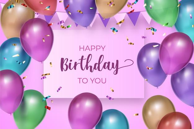 Realistyczne balony i konfetti urodziny tło