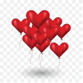Realistyczne balony kochają w przezroczystym tle