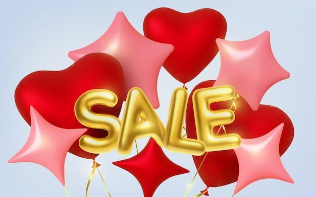 Realistyczne balony złoty napis sprzedaż i serca, ramka w kształcie gwiazdy. ilustracji wektorowych