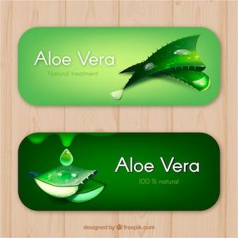 Realistyczne banery aloe vera