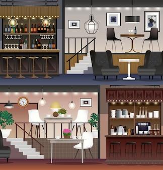 Realistyczne banery cafe bar