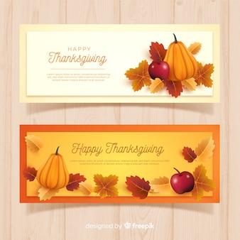 Realistyczne banery dziękczynienia