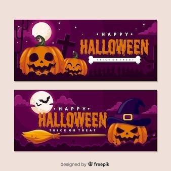 Realistyczne banery halloween dynia