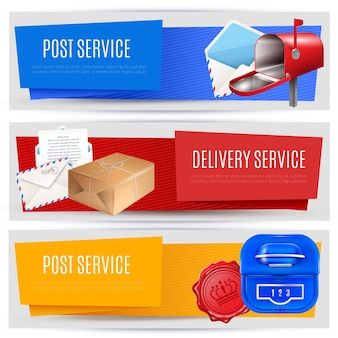 Realistyczne banery listowe skrzynki pocztowej zestaw trzech poziomych kompozycji z edytowalnymi obrazami tekstowymi i piktogramami