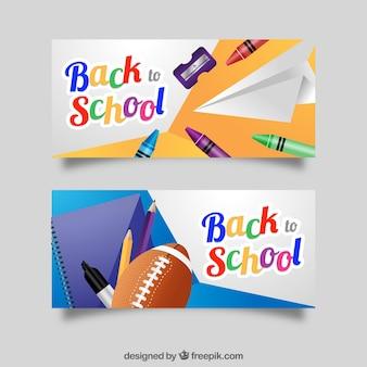 Realistyczne banery na powrót do szkoły
