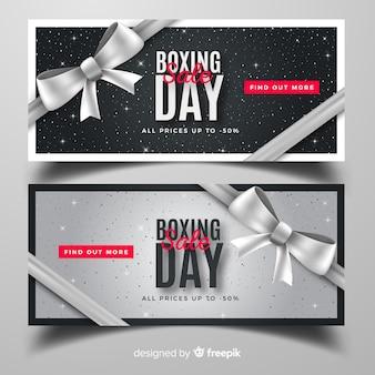 Realistyczne banery sprzedaż boxing dzień