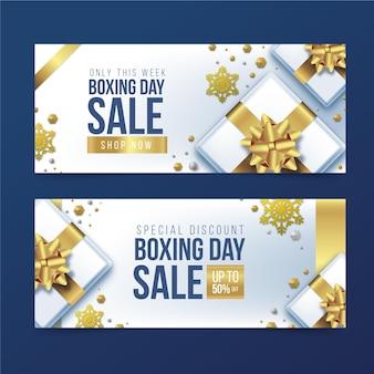 Realistyczne banery sprzedaży dnia boksu