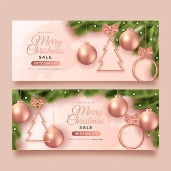 Realistyczne banery sprzedaży świątecznej