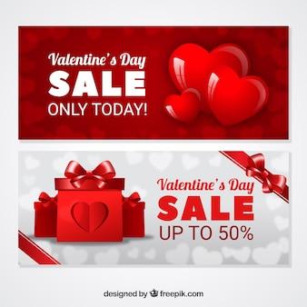 Realistyczne Banery Sprzedaży Walentynki Darmowych Wektorów