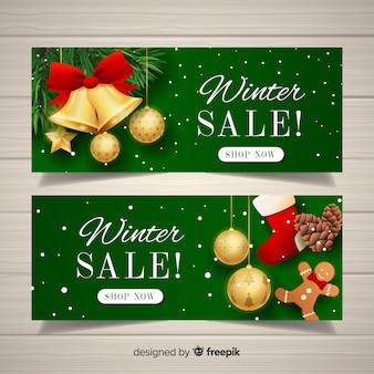 Realistyczne banery sprzedaży zimowej