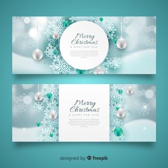Realistyczne banery świąteczne płatki śniegu