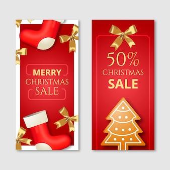 Realistyczne banery świąteczne sprzedaż