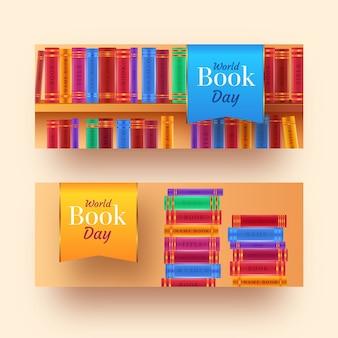 Realistyczne banery światowy dzień książki