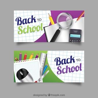Realistyczne banery z materiałami szkolnymi