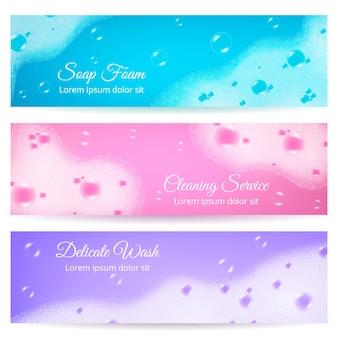 Realistyczne banery z pianką mydlaną
