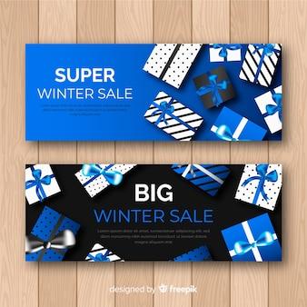 Realistyczne banery zimowe sprzedaży