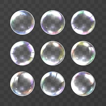 Realistyczne bańki mydlane w kolorach tęczy na czarnym tle. ilustracji wektorowych bańka mydlana. zestaw baniek mydlanych. obiekt na białym tle, vector