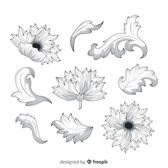 Realistyczne barokowe kwiaty w stylu vintage