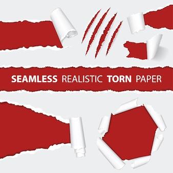 Realistyczne bezszwowe rozdarty papier i porysowane pazury