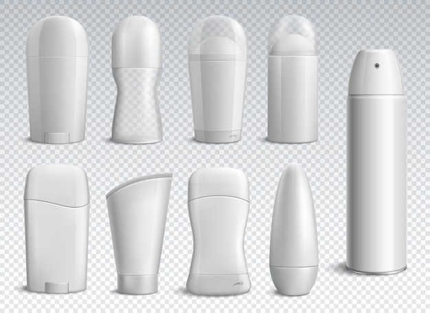 Realistyczne białe butelki dezodorantu o różnych kształtach na przezroczystej izolowanej ilustracji